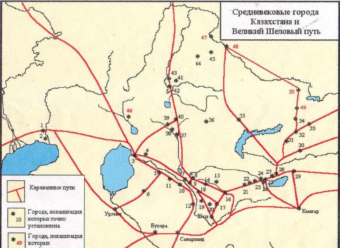 Средневековые города Казахстана и Шелковый путь