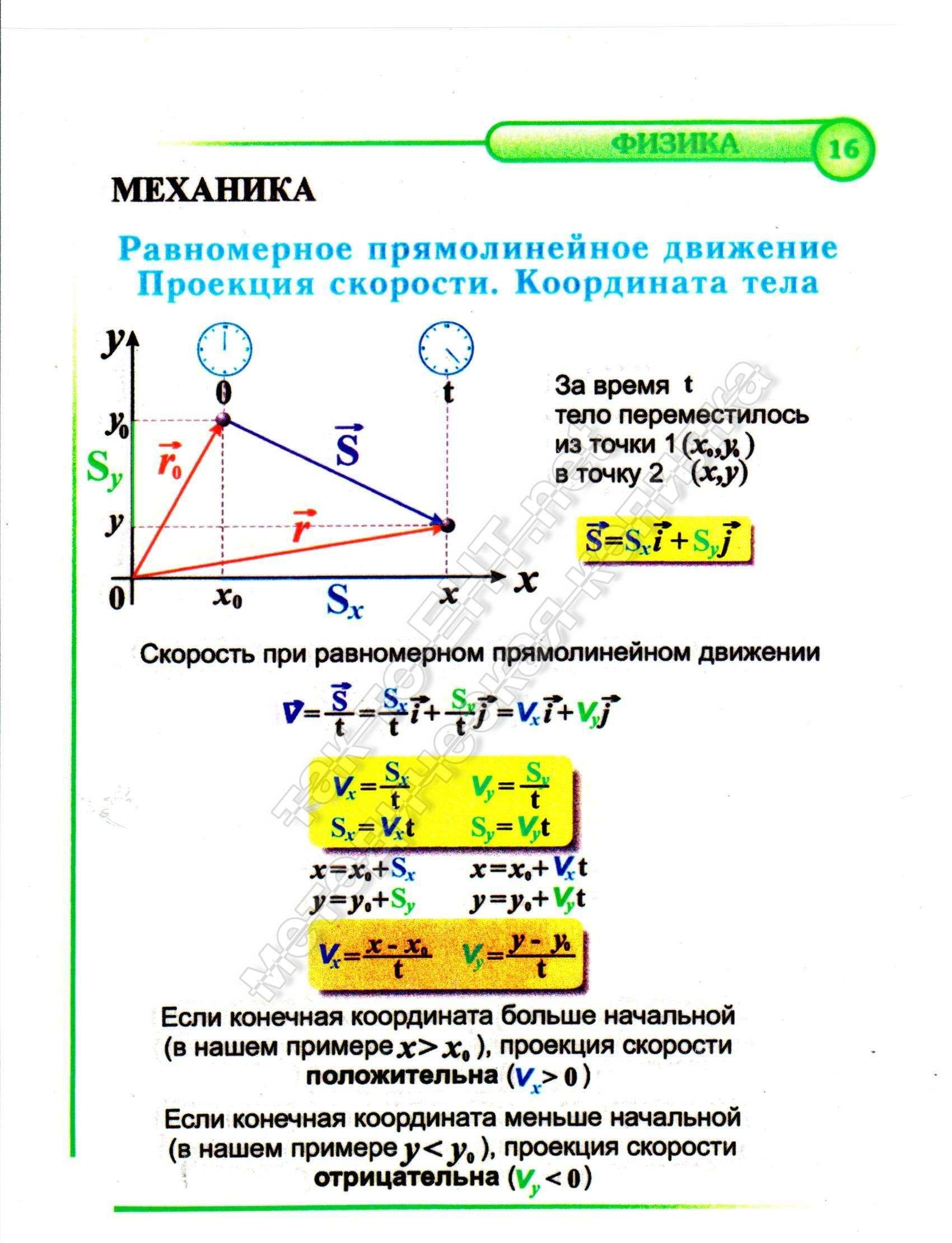 16 Равномерное прямолинейное движение. Проекция скорости. Координата тела (механика)